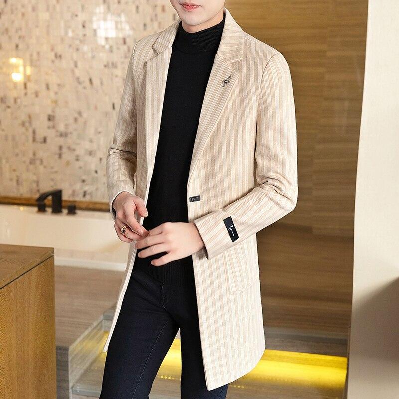 Fashion Stripe Winter Wool Coat For Men Casual Mens Overcoat  2019 Long Trench Coats Turn-down Collar Jacket Korean Windbreaker