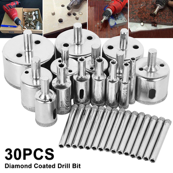 30pcs Diamond Coated Drill Bit Set Tile Marble Glass Ceramic Hole Saw Drilling Bits For Power Tools 6mm-50mm Marble Drilling Bit 6mm to 50mm diamond coated drill drills bit hole saw core marble glass granite tools 15pcs drilling power tool