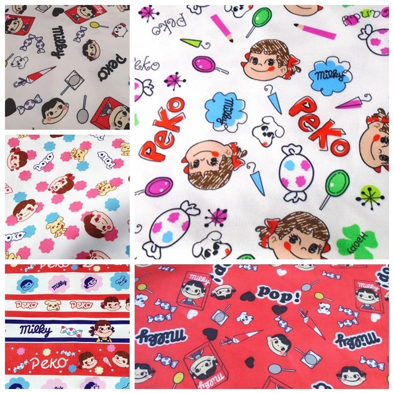 ZENGIA 50*145cm fujiya peko milky girl Canvas Fabric For Kids Bedding Home Textile For Sewing Tilda Doll School Bag Patchwork