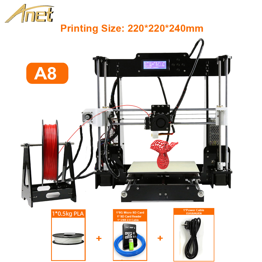 Anet 3d-impressora kit a8 auto a8 desktop impressora 3d prusa i3 diy com 0.5 kg pla filamento como presentes de moscou russo