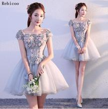 цена Fashion Blue party Prom Dress Short 2019 Sexy Dresses V-Neck Tulle Appliques Beading Lace Up A-Line Knee-Length Party Gowns