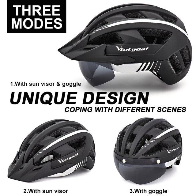 Victgoal capacete de bicicleta mtb led, recarregável por usb, lanterna traseira, capacete para homens, mountain bike, viseira solar 4