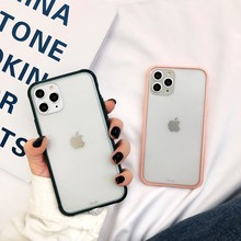 Color caramelo doble capas parachoques mate duro PC + TPU suave transparente contraportada para iPhone X XR XS 11 Pro Max 7 8 6s 6 Plus(China)