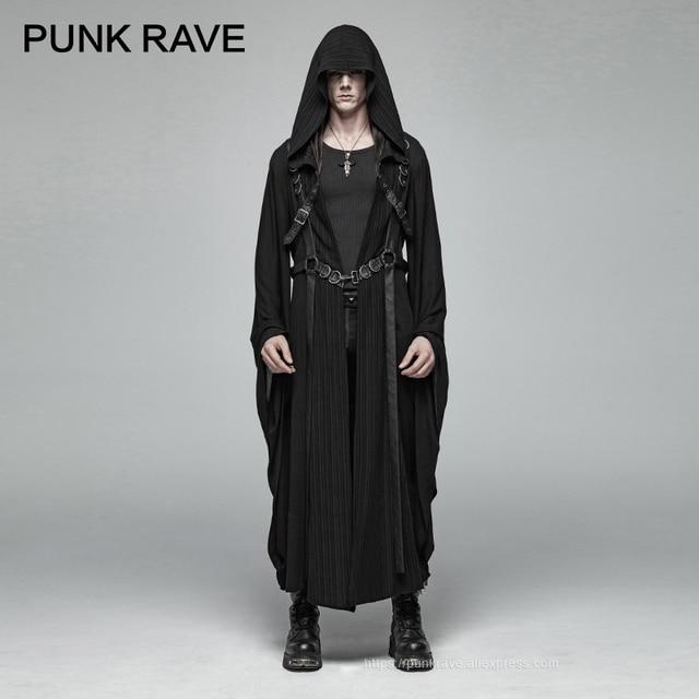 PUNK RAVE Mens Punk Retro Dark Japanese Long Jacket Stripe Metal Buckle Decoration Large Sleeves Loose Hooded Trench Coat