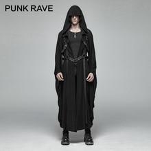 PUNK RAVE Nam Punk Retro Đậm Nhật Bản Dài Áo Khoác Sọc Khóa Kim Loại Trang Trí Lớn Tay Áo Hoodie Áo Khoác Dài