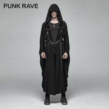 Punk rave masculino retro japonês escuro longo jaqueta listra fivela de metal decoração mangas grandes solto com capuz trench coat