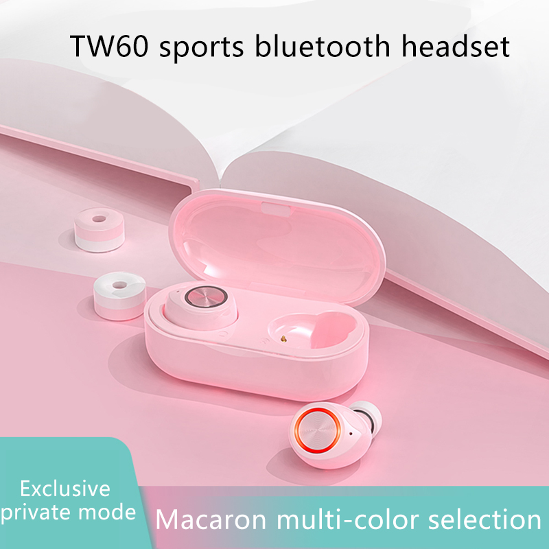 TWS TW60 Pink Cute Bluetooth 5.0 Glowing Earphone Binaural Wireless Earbuds Touch Control Hifi Stereo Noise Reduction Headphones