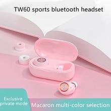 TWS TW60 Pink Cute Bluetooth 5.0 Glowing Earphone Binaural Wireless Earbuds Touc