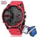 Часы Cagarny 57 мм с объемным большим циферблатом  красные  мужские роскошные часы с силиконовым стальным ремешком  мужские наручные часы  повсе...