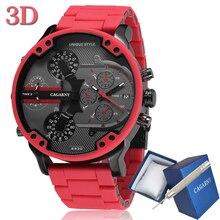 Cagarny 57 มม.3D ขนาดใหญ่สีแดงนาฬิกาผู้ชาย Luxury ซิลิโคนเหล็ก Band Mens นาฬิกาข้อมือควอตซ์ Casual นาฬิกาทหาร Relogio masculino