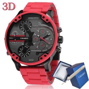 Image 1 - Cagarny 57 มม.3D ขนาดใหญ่สีแดงนาฬิกาผู้ชาย Luxury ซิลิโคนเหล็ก Band Mens นาฬิกาข้อมือควอตซ์ Casual นาฬิกาทหาร Relogio masculino