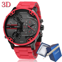 Cagarny 57mm 3d grande mostrador vermelho relógio masculino de luxo silicone aço banda relógio de pulso dos homens relógio de quartzo casual militar relogio masculino