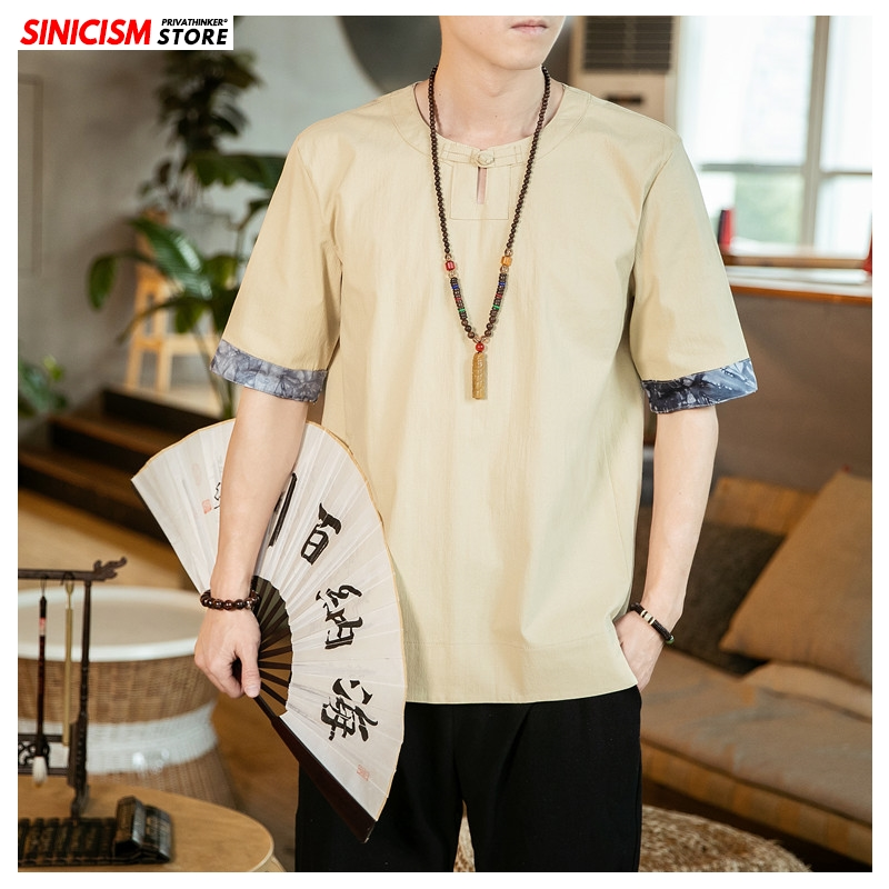 Sinicism Store 2020 Men Solid O-Neck TShirts Men's 5XL Summer Tees Loose Linen TShirts Male Vintage Chinese Style Oversize Tops