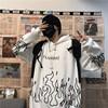 Kpop retro flame print hoodie Korean version ins Harajuku bf style street hip-hop loose plus velvet sweatshirt for men and women 6