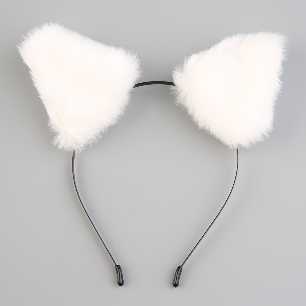 Fluffy Cosplay Halloween Party Cat Faux Fox Fur Ears Costume Hairpin Hairband Black/White/Purple/Leopard/Black&Pink Apparel