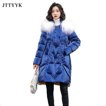 winter children 80% white duck down jacket boys girls warm real fur collar hooded snow coat parka kids thick outerwear coat e249 Real Beach Wool Collar Hooded Parka 2020 Winter Down Jacket Women Winter Duck Down Coat Long Warm Waterproof Bright Parka Coat