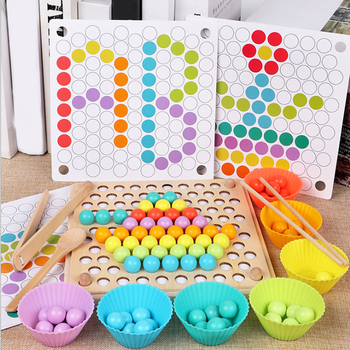 Wooden Beads Game Montessori Educational Early Learn Children Clip Ball Puzzle Preschool Toddler Toys Kids For Children Gifts