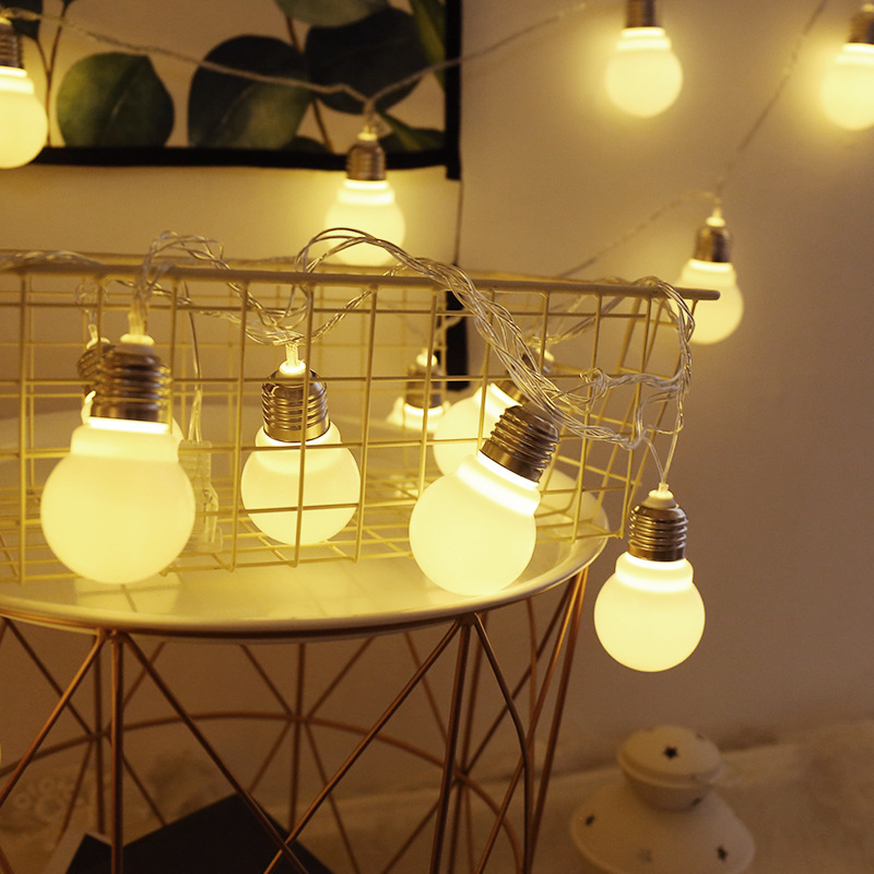 LED Bulb Large Ball Lantern String Lights Flashing Patio Balcony Room Christmas Outdoor Decoration Light Series Night Light