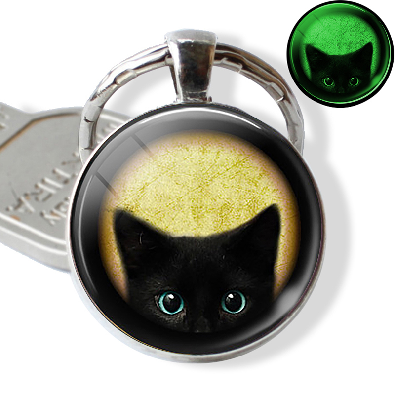 Halloween Luminous Cat Keychain Keyring Glowing In The Dark Cat With Pumpkin Art Picture Glass Key Chain Keyholder Gifts