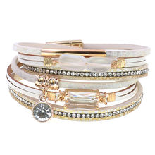 Fashion glass multilayer leather bracelet bangle woman vintage