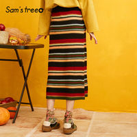 SAM'S TREE Colorblock Striped Knitted Pencil Skirts Women 2019 Autumn Black Solid Korean Style Casual Office Ladies Skirts
