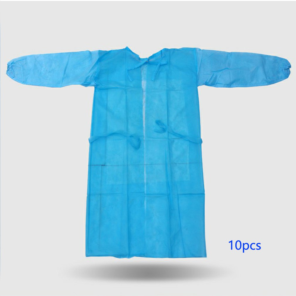 Disposable Dustproof Overalls Breathable Non-woven Gown Anti-static Isolation Clothing Block Outside Air 10 Pcs