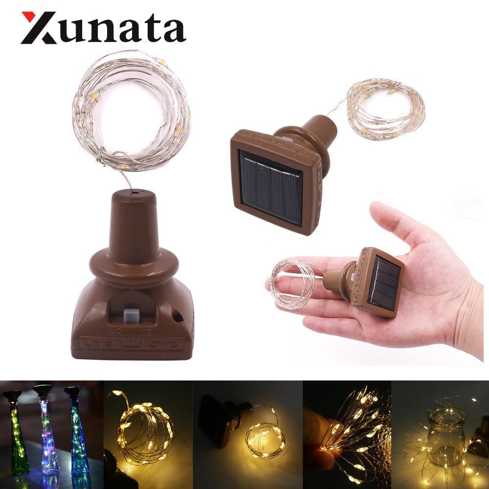 Wine Bottle Cork Copper Wire Fairy Lights Starry Solar Powered String Light Xmas Christmas Light 2m 20 LED 1m 10 LED