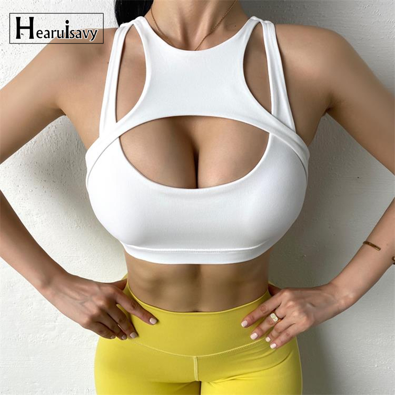 Push Up Shockproof Running Jogger Sport Bra Women Hollow Out Patchwork Fitness Workout Vest Breathable Sexy Yoga Crop Tops