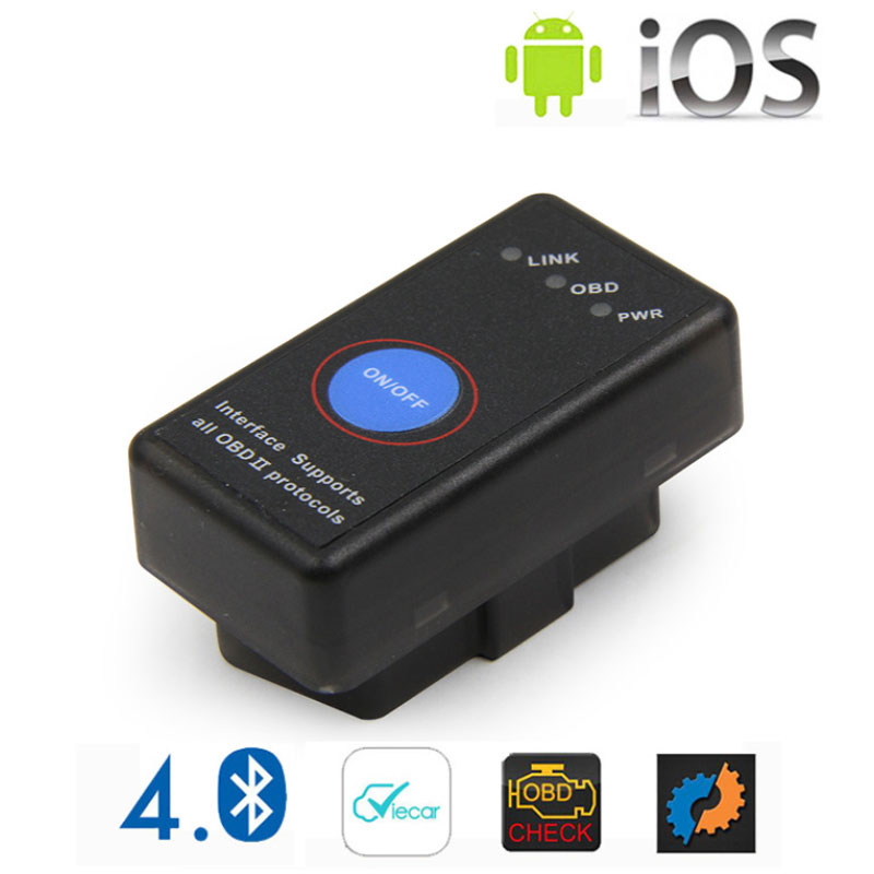 2020 New Mini <font><b>ELM</b></font> <font><b>327</b></font> Bluetooth 4.0 with Power Switch 25K80 ELM327 <font><b>V1.5</b></font> OBD2 Interface Scan Tool for IOS Android Free Shipping image