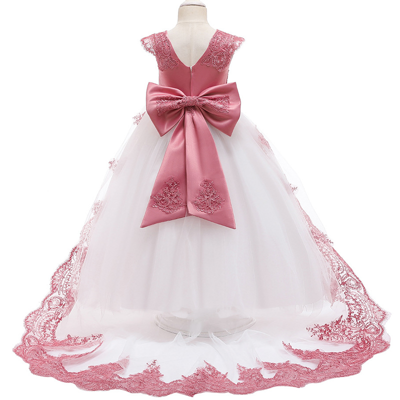 Flower Girl Wedding Party Bridesmaid Tail Embroidery Dress Girl's Communion Ball New Year Christmas Party Tail Long Dress
