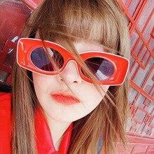 Vintage Sunglasses Woman Retro Square Gradient Shield Red Su