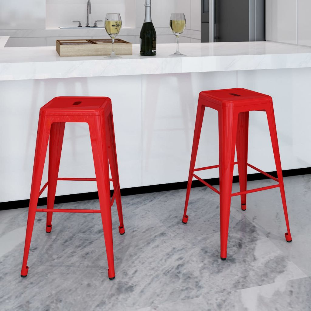 VidaXL Bar Stools 2 Pcs Red Steel