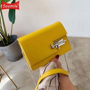 Image 1 - Womens Handbag Simple Chain Crossbody Bags For Women 2020 New Pu Leather Yellow Green Fashion Young Woman Evening Shoulder Bag