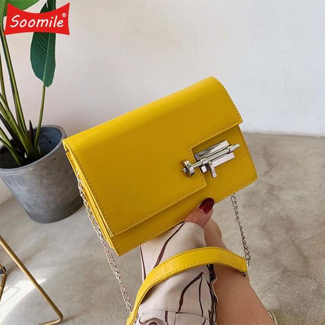 Womens Handbag Simple Chain Crossbody Bags For Women 2020 New Pu Leather Yellow Green Fashion Young Woman Evening Shoulder Bag