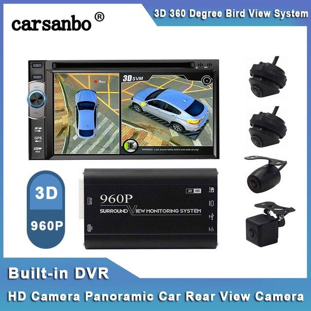 Камера заднего вида, 4 камеры, панорамная, 360 градусов, вид птицы, Автомобильный видеорегистратор, запись, парковочная универсальная камера, вид сбоку