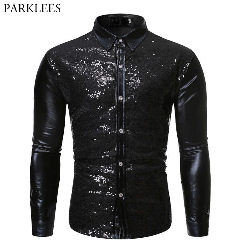 Black Metallic Sequin Patchwork Shirt Men 2019 Nightclub Style Disco Dance Dress Shirts Mens Halloween Party Prom Chemise Homme