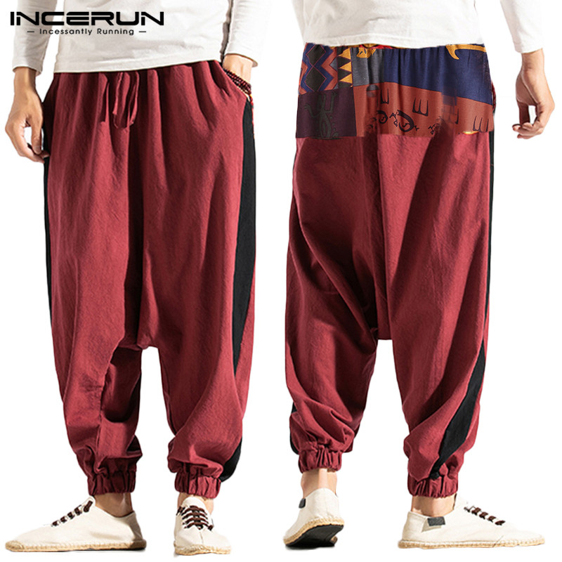 Men Harem Pants Joggers Printed Patchwork Cotton Linen Baggy Drop-crotch Pants Men 2020 Casual Streetwear Trousers S-5XL INCERUN