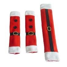 3 шт/набор Рождественские украшения кухонный холодильник, СВЧ-печь дверная ручка тканевые скатерти