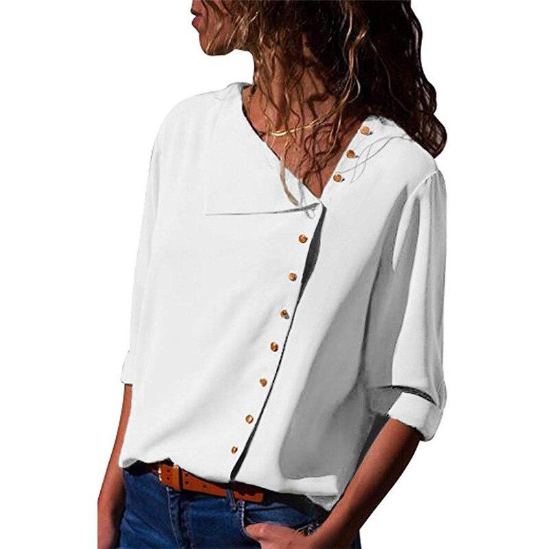 2020 Spring Summer New Blouse Fashion Button irregular Oblique Collar Long sleeved Female Chiffon Shirt Large size Women tops