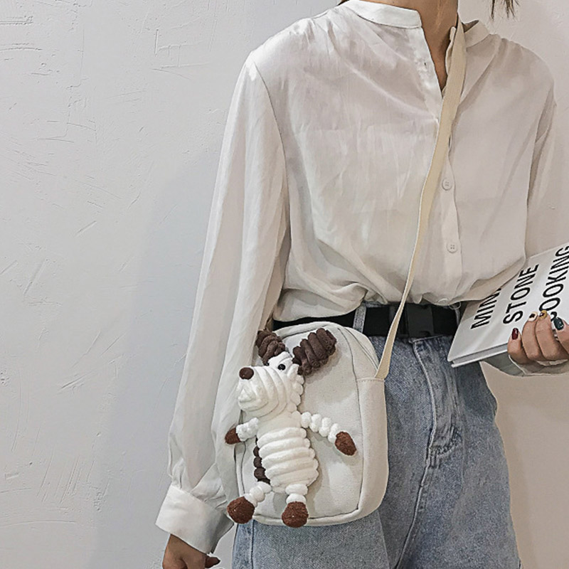 New Style Women Bag Casual Cute Cartoon Decoration Shoulder Bag Concise Crossbody Bag