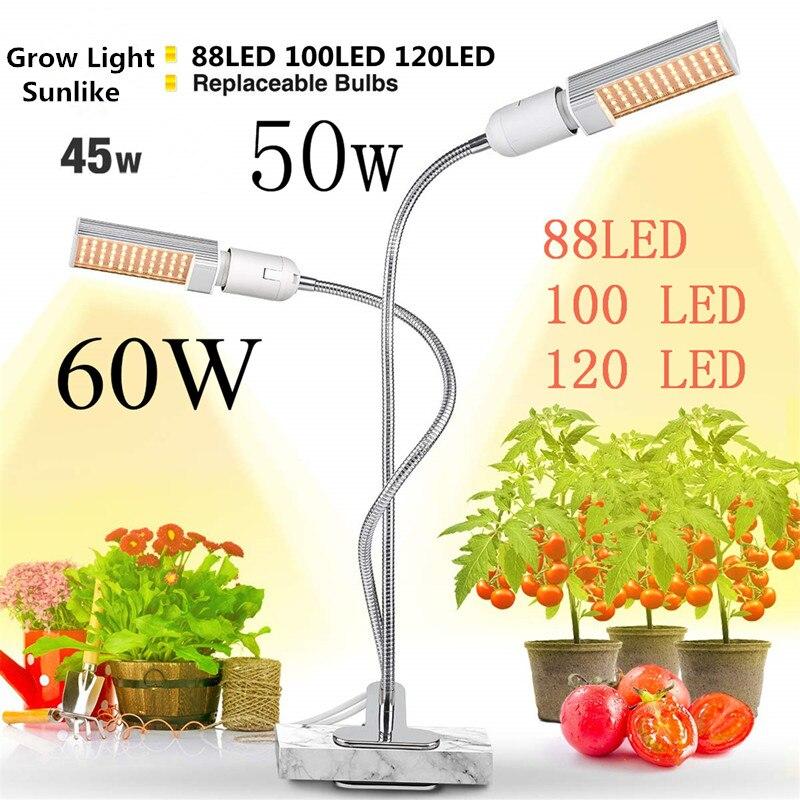 LED Plant Grow Light Sunlike Full Spectrum 45W 50W 60W Dual Head Flexible Gooseneck Greenhouse Indoor Plants Seedings Phyto Lamp