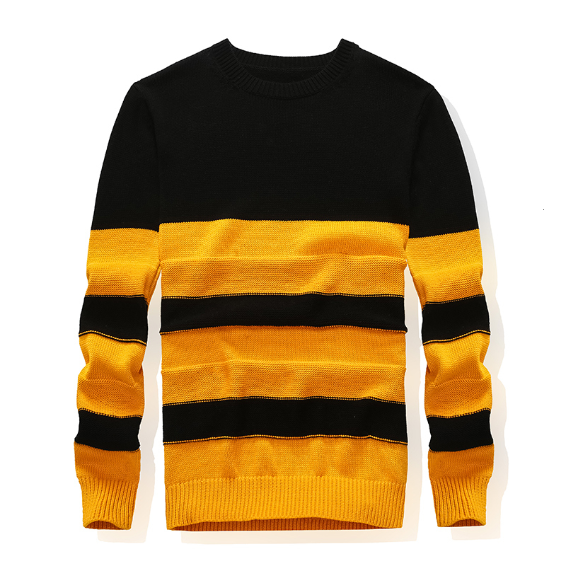 100% Cotton Men Sweater O-Neck Sweater Pullover Formal Men's Stripe Long Sleeve  For Man Pullover Clothes 2019 Winter New Style