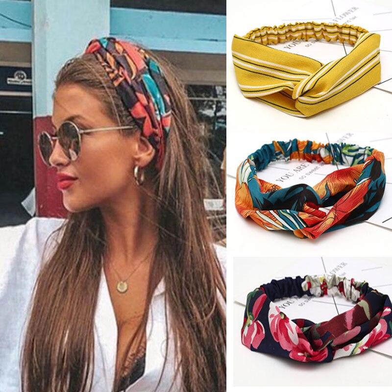 Женские аксессуары для волос для девочек, модная повязка на голову, тканевый шифоновый цветочный ободок с перекрестным узлом и бантом, коре...