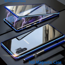 Magnetic Metal Case untuk Samsung Galaxy Note 10 Plus A50 A51 A70 A71 41 A10 A21S A90 A20e S10 lite M31 Telepon Cove Tritone(China)