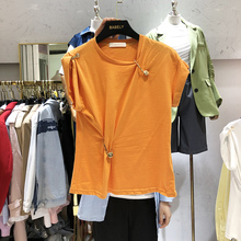 Spring Summer Tshirt Woman Fashion Crew Neck Solid Color Slim Metal Buckle Small Short Sleeve T-