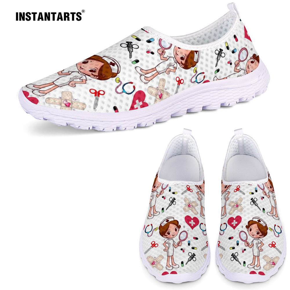 INSTANTARTS Cute Nurse Pattern Women Spring Summer Flats Shoes 3D Cartoon Nursing Mesh Shoes Slip On Beach Shoes Zapatos Planos