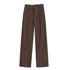 Черные Костюмные брюки, женские брюки с высокой талией, свободные офисные женские брюки, модные женские брюки