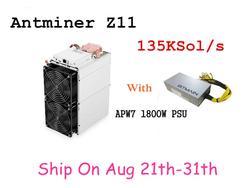 متوفر Antminer Z11 135k Sol/s 1418 واط مع BITMAIN 1800 واط PSU Equihash Miner أفضل من Antminer Z9 S9 S11 S15 Innosilicon A9