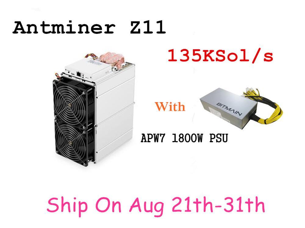 Pré-encomenda Antminer Z11 135k Sol/s 1418W Com 1800W PSU Equihash Mineiro BITMAIN Melhor do que Antminer Z9 S9 S11 S15 Innosilicon A9
