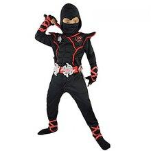 Детский маскарадный костюм на Хэллоуин, японский костюм ниндзя, мускулистый воин, Детский костюм ниндзя, виву, черный воин